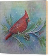 Cardinal And Delta Snow Wood Print