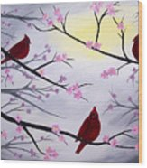 Cardinal Blossoms Wood Print