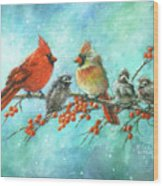 Cardinal Family Three Kids Wood Print