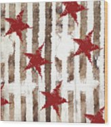 Cardinal Holiday Burlap Star Pattern Wood Print