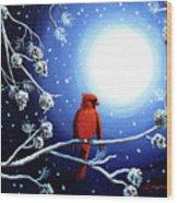 Cardinal On Christmas Eve Wood Print
