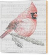 Cardinal On Joy To The World Wood Print