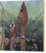 Cardinal Sitting On A Fence Wood Print