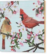 Cardinals And Apple Blossoms Wood Print