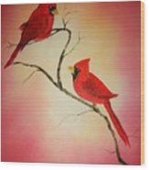 Cardinals At Sunset Wood Print