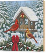 Cardinals Christmas Feast Wood Print by Crista Forest