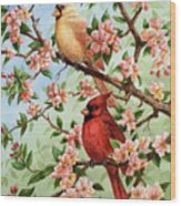 Cardinals In Apple Blossoms Wood Print