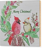 Cardinals Painted By Debbie Woodrow Wood Print