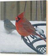 Cardinals Snow Day Wood Print