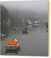 Careel Bay Mist Wood Print