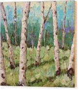 Carefree Birches Wood Print