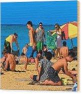Carefree In Waikiki Wood Print