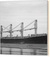 Cargo Ship On River Wood Print