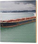 Cargo Ship Under Stormy Sky Wood Print