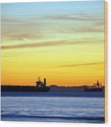 Cargo Ships At Sunset Wood Print