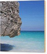 Caribbean Beach Rock Tulum Mexico Wood Print