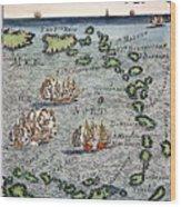 Caribbean Map Wood Print
