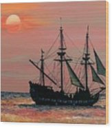 Caribbean Pirate Ship Wood Print