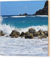 Caribbean Pounding Surf Wood Print