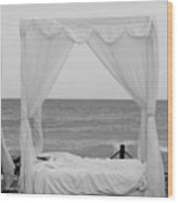 Caribbean Relaxation Bed Single Vertical - Height For Triptych Black And White Wood Print