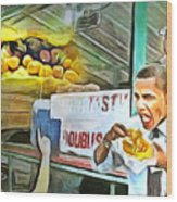 Caribbean Scenes - Obama Eats Doubles In Trinidad Wood Print