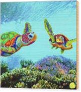 Caribbean Sea Turtle And Reef Fish Wood Print