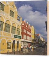 Caribbean Shopping District Wood Print