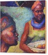 Caribbean Women With Oranges Wood Print