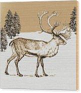 Caribou Wood Print