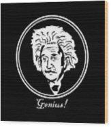 Caricature Of Albert Einstein Genius Wood Print
