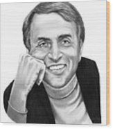 Carl Sagan Wood Print