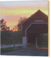 Carlton Covered Bridge Swanzey Nh Sunset Wood Print