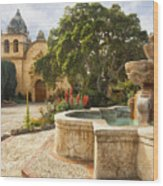 Carmel Church And Fountain Wood Print