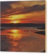 Carmel Colored Sunset In Kansas.  Wood Print