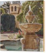 Carmel Fountain Courtyard Wood Print