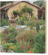 Carmel Mission Courtyard Garden Wood Print