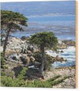 Carmel Seaside With Cypresses Wood Print