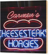 Carmens Cheesesteaks Wood Print