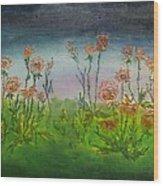 Carnations At Dusk Wood Print