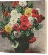 Carnations In A Vase Wood Print