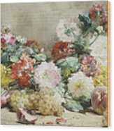 Carnations, Roses, Grapes And Peaches Wood Print