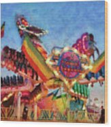 Carnival - A Most Colorful Ride Wood Print by Mike Savad