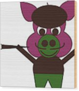 Carnival at the Zoo - Pig-Casso Wood Print