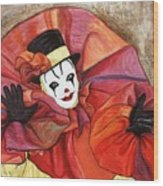 Carnival Clown Wood Print