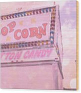 Carnival Festival Popcorn Cotton Candy Slide Fun Wood Print