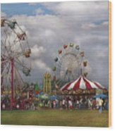 Carnival - Traveling Carnival Wood Print by Mike Savad