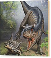 Carnotaurus Attacking An Antarctopelta Wood Print