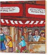 Carole Spandau Paints Montreal Memories - Montreal Landmarks - Schwartzs Hebrew Deli St. Laurent  Wood Print
