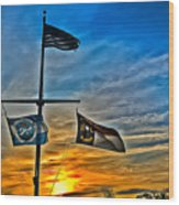 Carolina Beach Lake Flag Pole V2 Wood Print