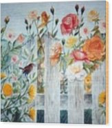 Carolina Wren and Roses Wood Print
